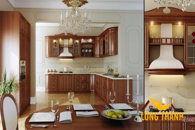 Tủ bếp gỗ tự nhiên sơn PU LT05