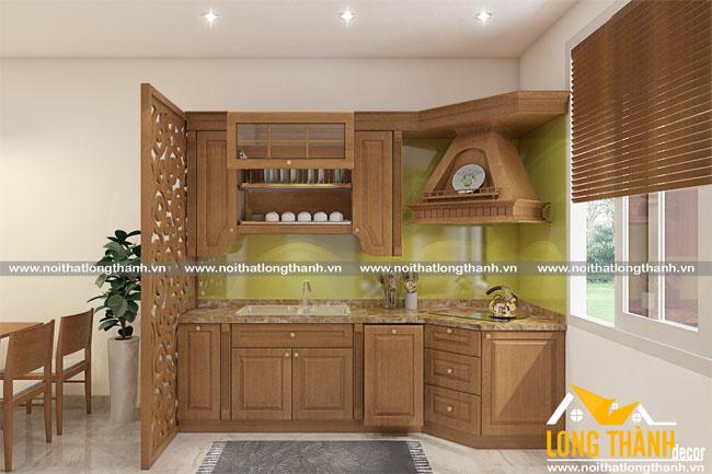 Thiết kế mẫu tủ bếp gỗ tự nhiên sơn PU LT09