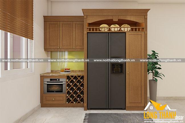 Tủ bếp gỗ tự nhiên sơn PU LT09