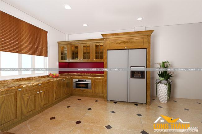 Mẫu nội thất tủ bếp gỗ tự nhiên sơn PU LT10