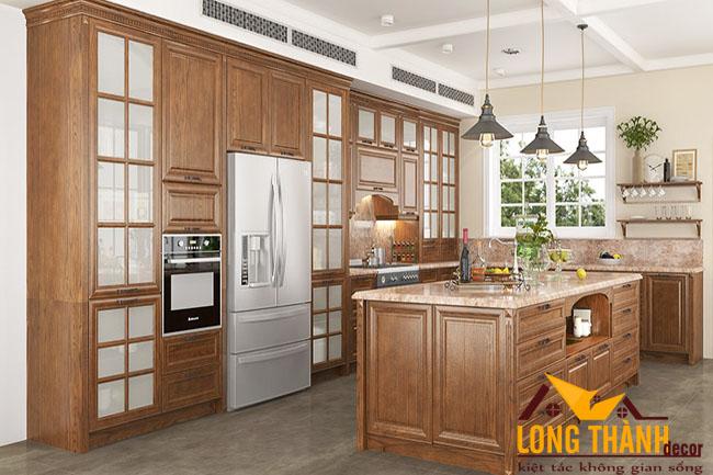 Tủ bếp gỗ tự nhiên sơn PU LT11