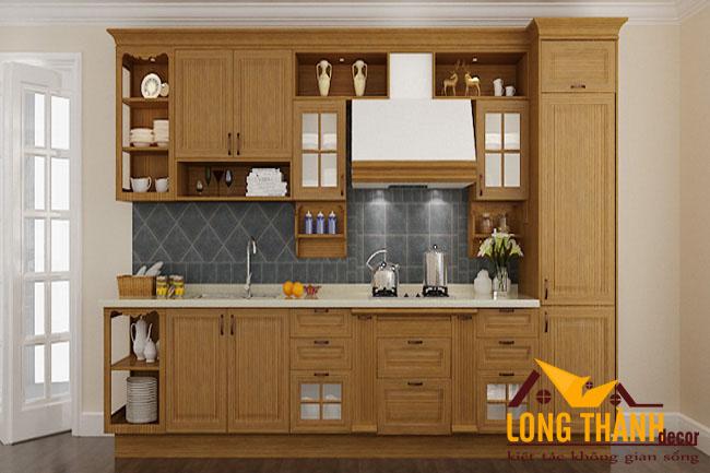 Tủ bếp gỗ tự nhiên sơn PU LT12