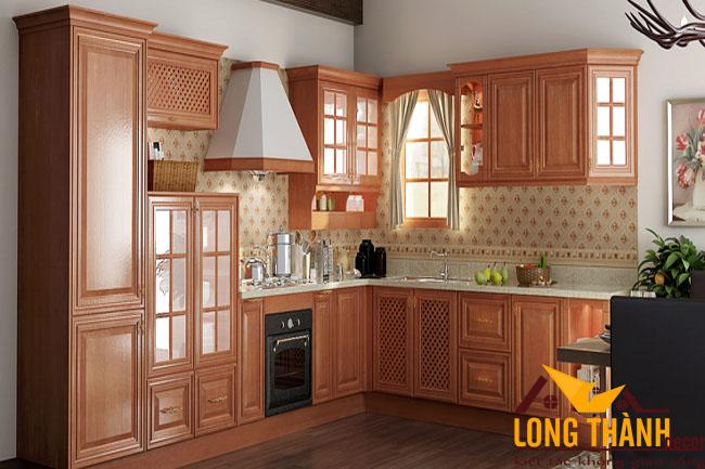 Tủ bếp gỗ tự nhiên sơn PU LT13