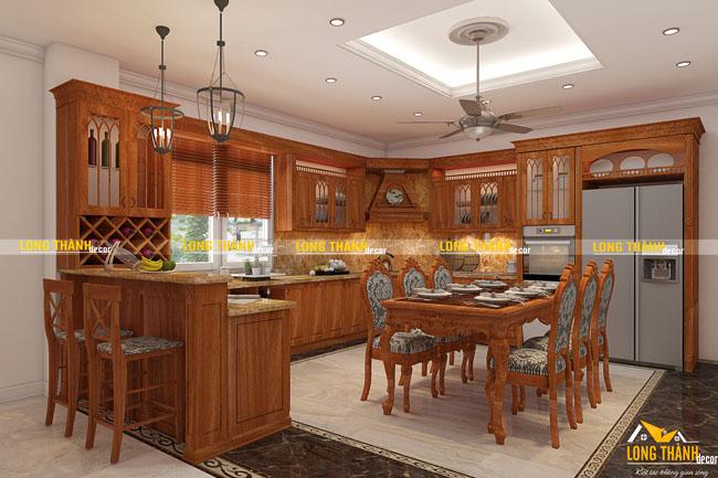 Tủ bếp gỗ tự nhiên sơn PU LT14