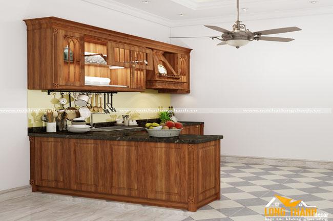Mẫu tủ bếp gỗ tự nhiên sơn PU hiện đại  LT17