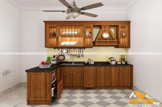Tủ bếp gỗ tự nhiên sơn PU LT17