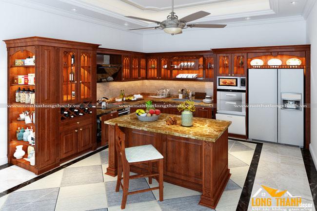 Tủ bếp gỗ tự nhiên sơn PU LT18