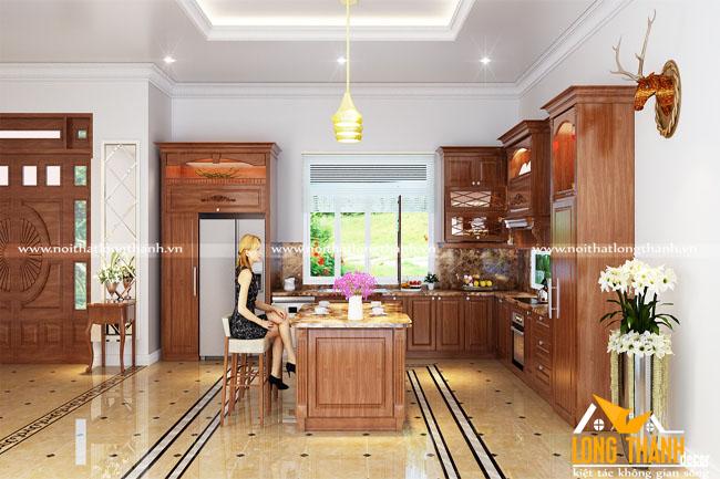 Tủ bếp gỗ tự nhiên sơn PU LT19