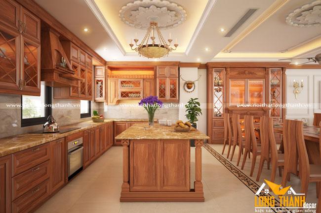 Mẫu thiết kế tủ bếp gỗ tự nhiên sơn PU LT22
