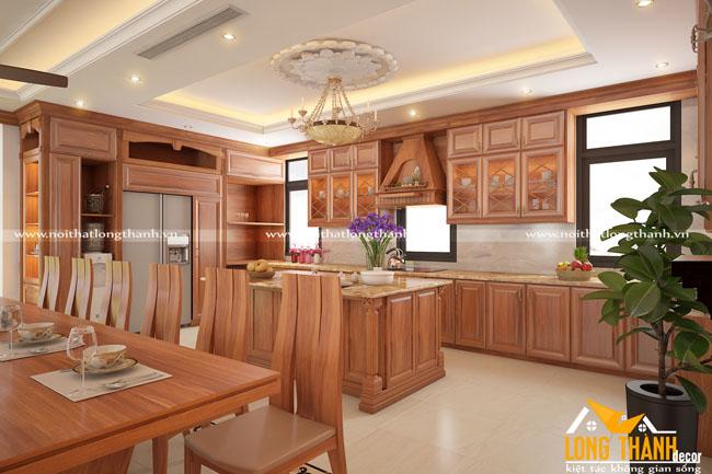 Tủ bếp gỗ tự nhiên sơn PU LT22