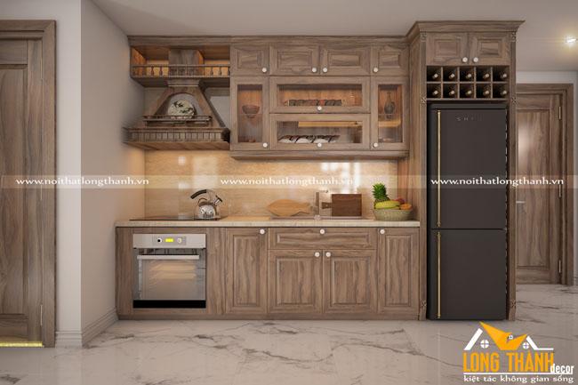 Mẫu tủ bếp gỗ tự nhiên sơn PU LT23
