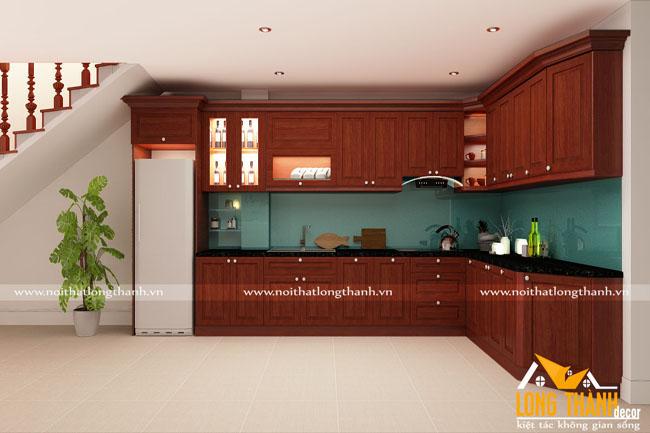 Tủ bếp gỗ tự nhiên sơn PU LT24