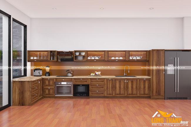 Thiết kế nội thất tủ bếp gỗ tự nhiên sơn PU LT25
