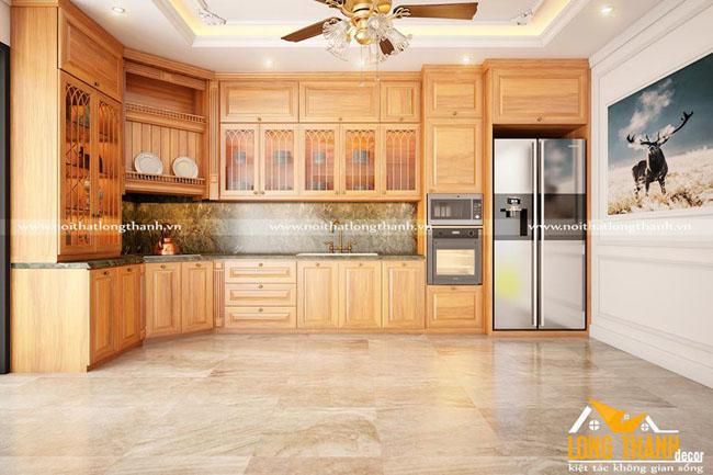 Tủ bếp gỗ tự nhiên sơn PU LT26