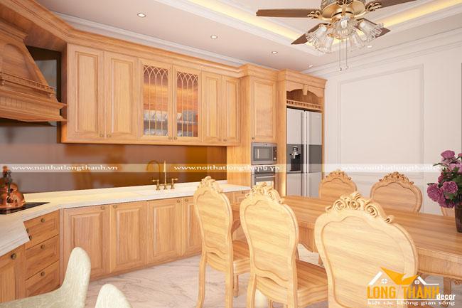 Tủ bếp gỗ tự nhiên sơn PU LT27