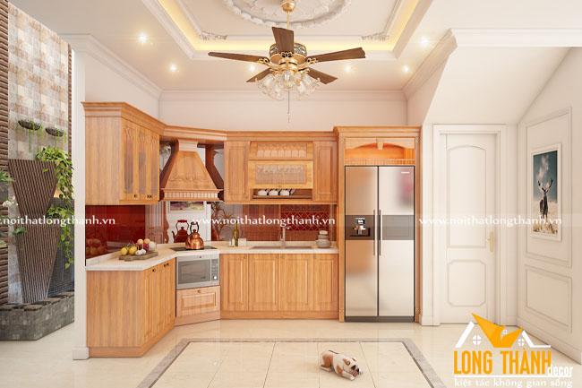 Tủ bếp gỗ tự nhiên sơn PU LT29