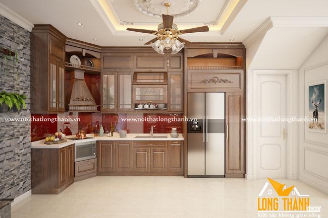 Tủ bếp gỗ tự nhiên sơn PU LT30