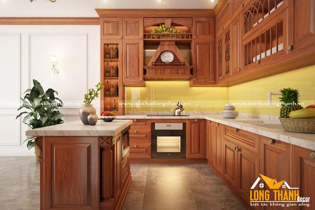 Mẫu thiết kế tủ bếp gỗ tự nhiên sơn PU LT31