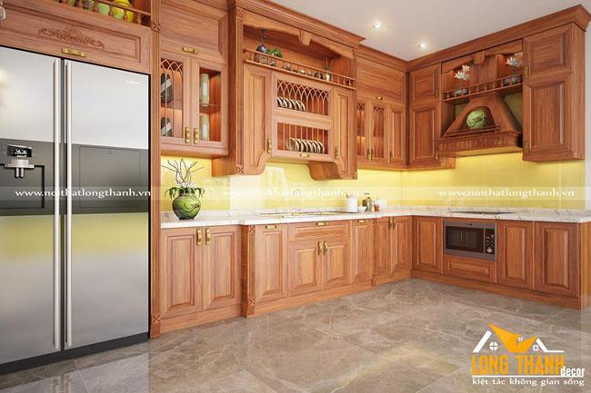 Tủ bếp gỗ tự nhiên sơn PU  LT32
