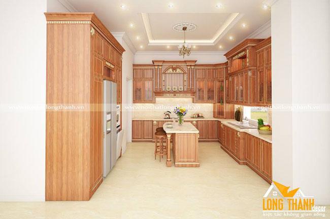 Tủ bếp gỗ tự nhiên sơn PU LT33