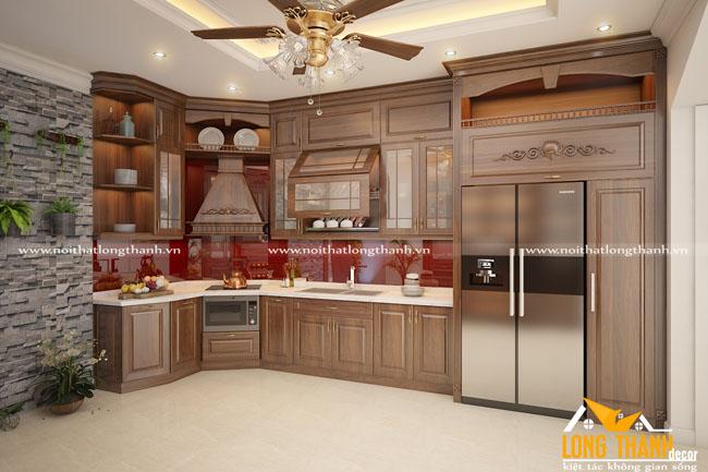 Tủ bếp gỗ tự nhiên sơn PU LT34