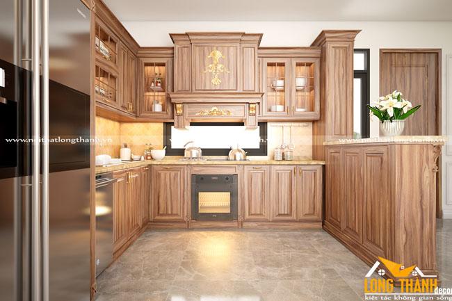 Tủ bếp gỗ tự nhiên sơn PU LT35