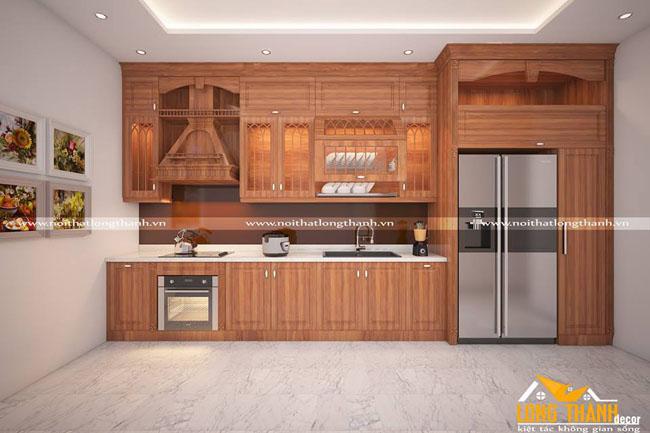 Tủ bếp gỗ tự nhiên sơn PU LT37