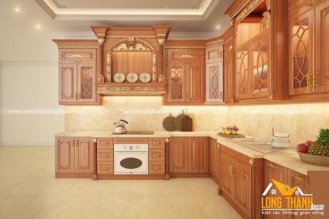 Mẫu tủ bếp gỗ tự nhiên sơn PU LT38