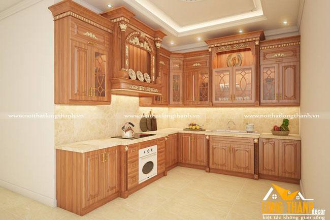 Tủ bếp gỗ tự nhiên sơn PU LT38