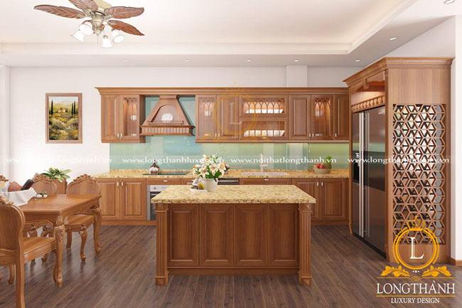 Tủ bếp gỗ tự nhiên sơn PU LT39