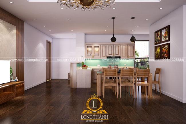 Tủ bếp gỗ tự nhiên sơn PU LT40