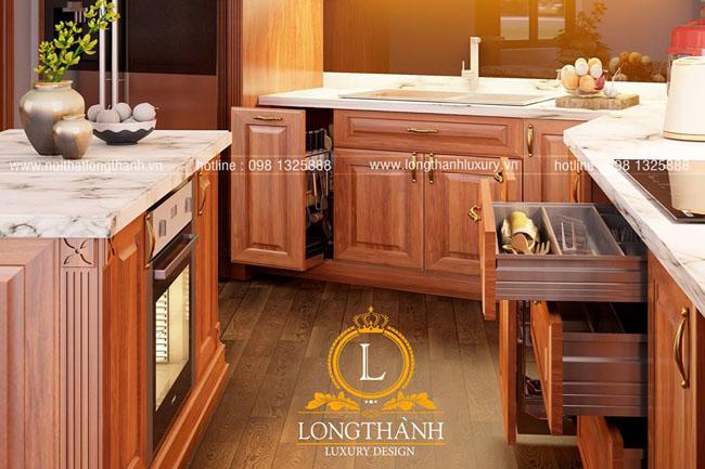 Tủ bếp nhà chung cư hẹp thiết kế nhỏ gọn sử dụng tiện lợi với nhiều công năng