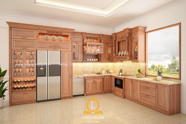 Tủ bếp gỗ tự nhiên sơn PU LT47