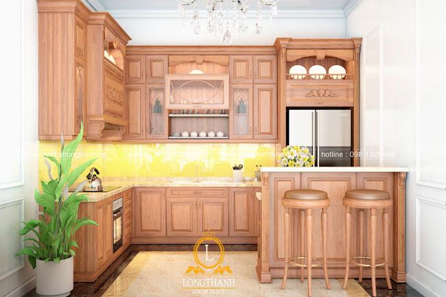 Mẫu tủ bếp tân cổ điển góc L cho chung cư hẹp