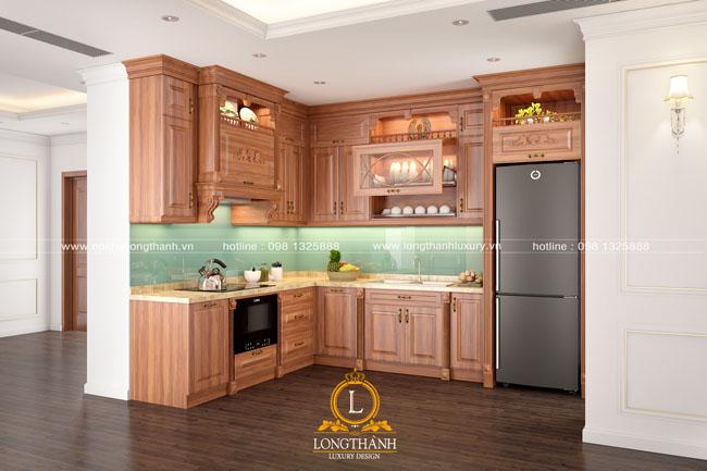 Tủ bếp nhà chung cư hẹp thường có sự hạn chế về kích thước nhưng sử dụng tiện lợi