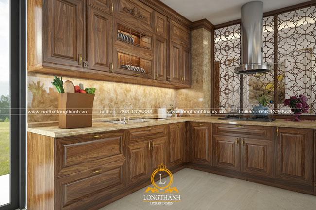 Mẫu tủ bếp gỗ tự nhiên đẹp được thiết kế và sản xuất bới nội thất Long Thành