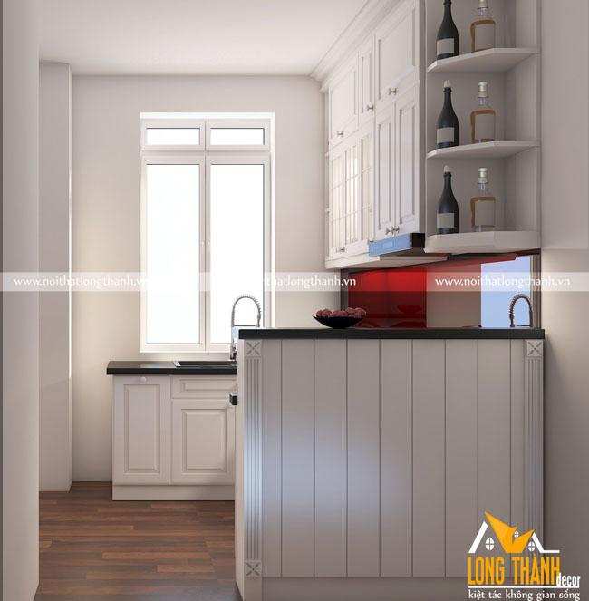 Tủ bếp gỗ tự nhiên sơn trắng LT 41