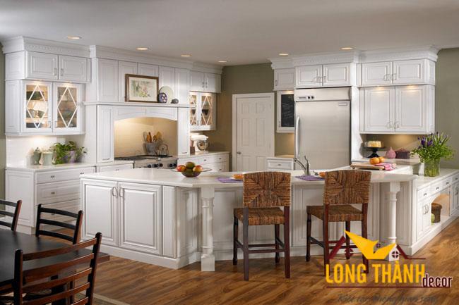 Tủ bếp gỗ tự nhiên sơn trắng LT11