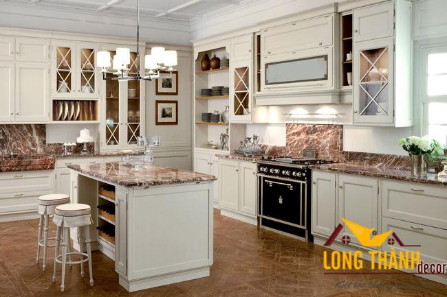 Tủ bếp gỗ tự nhiên sơn trắng LT12