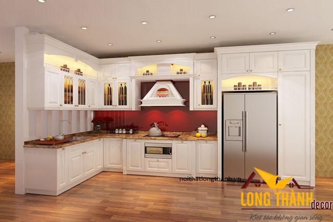 Tủ bếp gỗ tự nhiên sơn trắng LT03