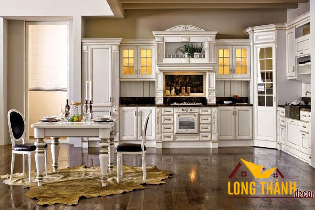 Tủ bếp gỗ tự nhiên sơn trắng LT09