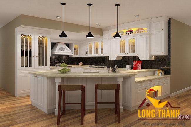 Tủ bếp gỗ tự nhiên sơn trắng LT14