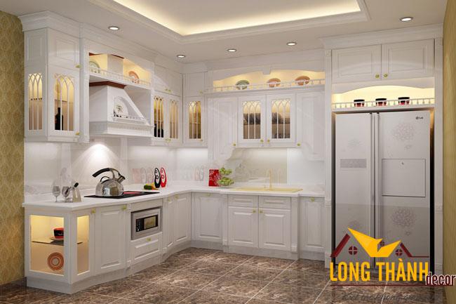 Tủ bếp gỗ tự nhiên sơn trắng LT16