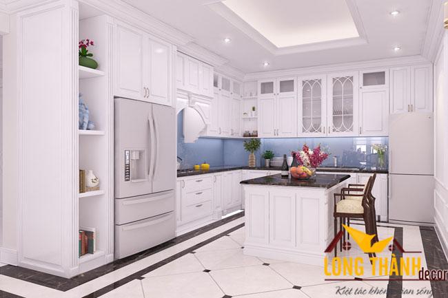 Tủ bếp gỗ tự nhiên sơn trắng LT18