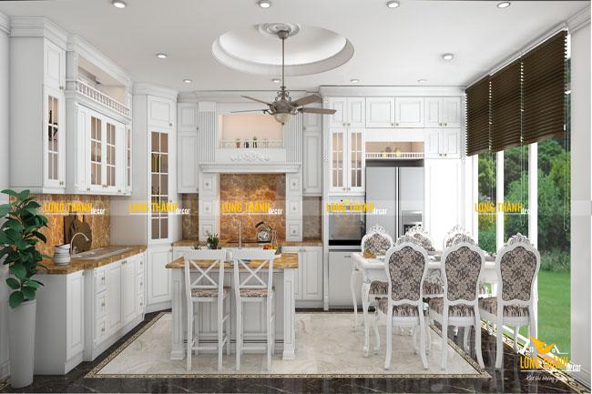Tủ bếp gỗ tự nhiên sơn trắng LT19