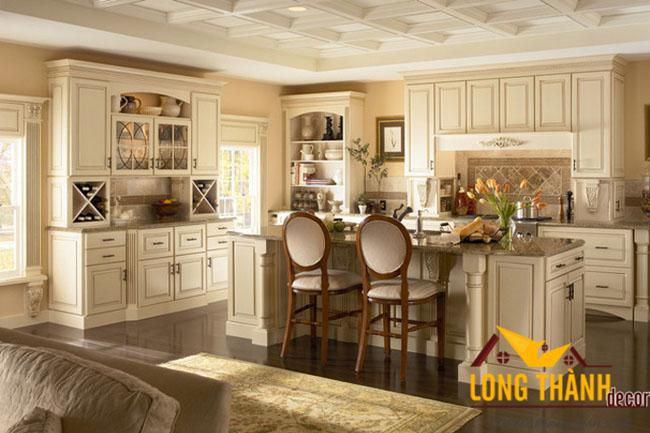 Tủ bếp gỗ tự nhiên sơn trắng LT21