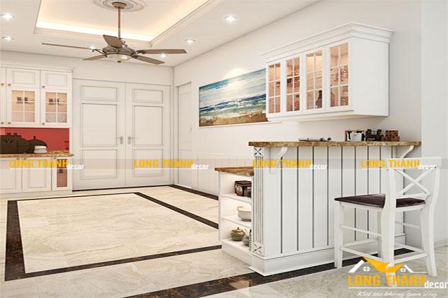 Thiết kế tủ bếp tân cổ điển năm 2017 bằng gỗ tự nhiên sơn trắng