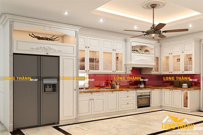 Tủ bếp gỗ tự nhiên sơn trắng LT23