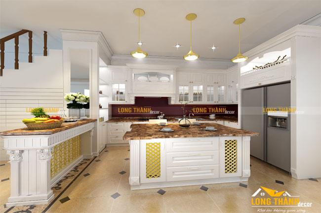 Tủ bếp gỗ tự nhiên sơn trắng LT24