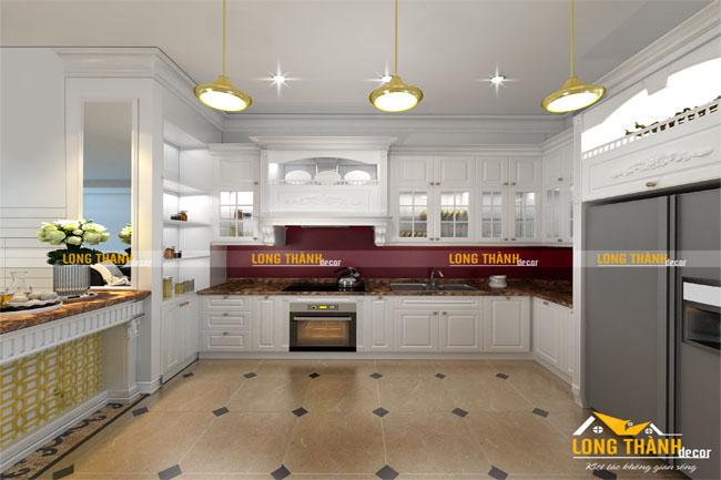 Mẫu tủ bếp gỗ tự nhiên sơn trắng LT24 năm 2017